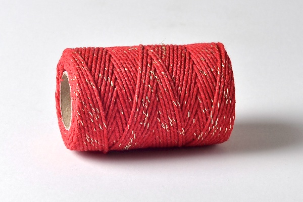 red and gold sparkle  bakers twine